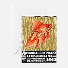 Antique 1913 Denmark Goldfish Poster Stamp Greetin