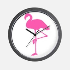 Neon Pink Flamingo Wall Clock