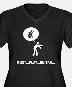 Classical Guitarist Women's Plus Size V-Neck Dark