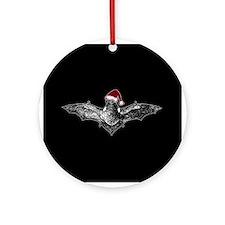 Bat In A Santa Hat Ornament (Round)