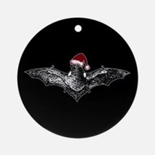 Bat In A Santa Hat Ornament (Round)