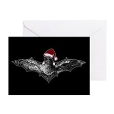 Bat In A Santa Hat Greeting Cards (Pk of 10)
