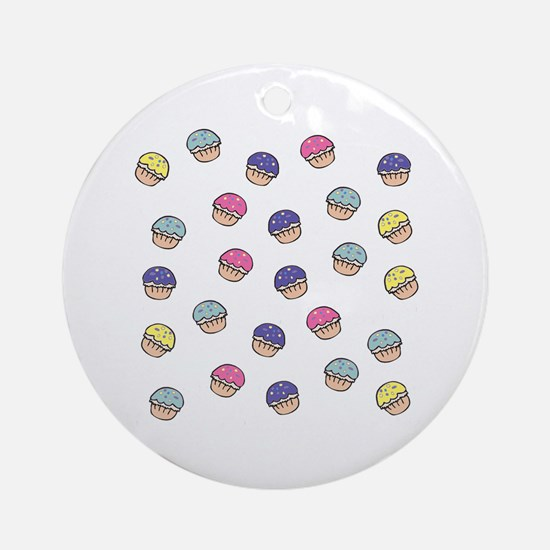 Cute Girly Pastel Cupcakes Pattern Ornament (Round