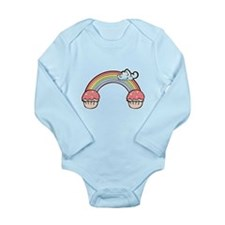 Cute End of Rainbow Cupcake Long Sleeve Infant Bod