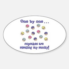 Funny Cute Cupcakes Stealing Sanity 1 by 1 Decal