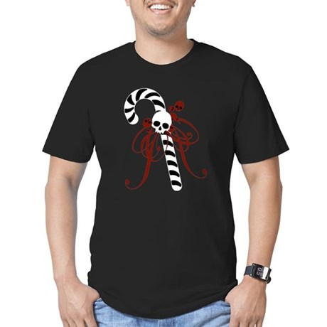 Skull Candy Cane Men's Fitted T-Shirt (dark)