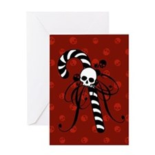 Skull Candy Cane Greeting Card