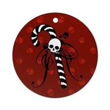 Skull Candy Cane Ornament (Round)