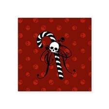 "Skull Candy Cane Square Sticker 3"" x 3"""