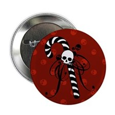 "Skull Candy Cane 2.25"" Button"