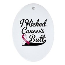 I Kicked Throat Cancers Butt Shirts Ornament (Oval