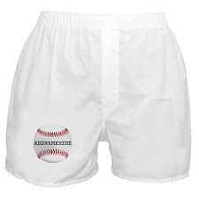 Personalized Baseball Red/White Boxer Shorts