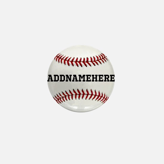 Personalized Baseball Red/White Mini Button