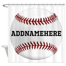Personalized Baseball Red/White Shower Curtain