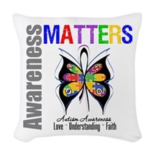 Colorful Autism Butterfly Woven Throw Pillow