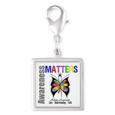 Colorful Autism Butterfly Silver Square Charm