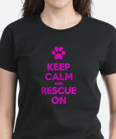 Hot Pink Keep Calm And Rescue On T-Shirt