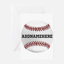 Personalized Baseball Red/White Greeting Cards (Pk