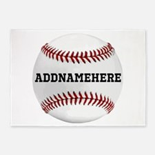 Personalized Baseball Red/White 5'x7'Area Rug