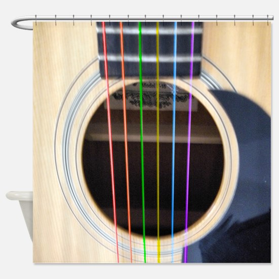 Neon String Acoustic Guitar Shower Curtain