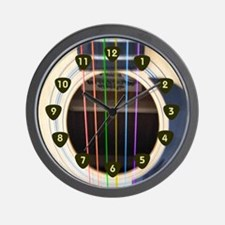 Neon String Acoustic Guitar Wall Clock