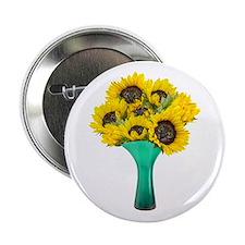 """Vase Cat Flowers 2.25"""" Button"""
