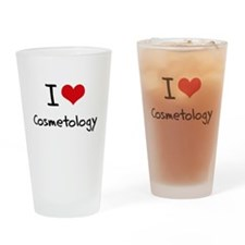 I Love COSMETOLOGY Drinking Glass