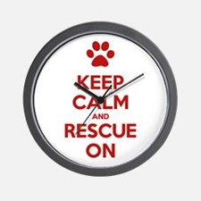 Keep Calm And Rescue On Animal Rescue Wall Clock