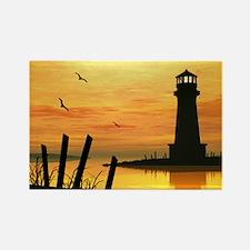 Lighthouse Sunset - Rectangle Magnet