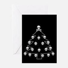 Gothic Skull Christmas Tree Greeting Cards (Pk of