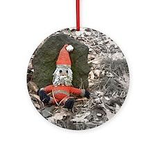 Grungy Santa Doll Ornament (Round)