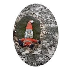 Grungy Santa Doll Ornament (Oval)