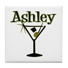 """Ashley Retro Martini"" Tile Coaster"