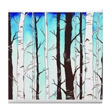 Sapphire Sky with Birch Forest Tile Coaster