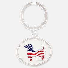 Patriotic Dachshund Oval Keychain