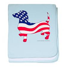 Patriotic Dachshund baby blanket