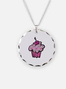 Pink Punk Skull Crossbones Cupcake Necklace