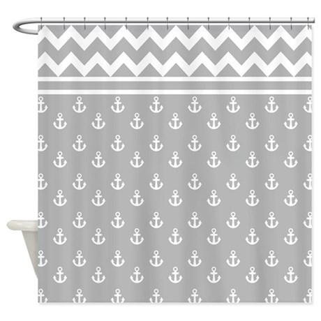 Light Gray Anchors And Chevrons Shower Curtain By Hhtrendyhome