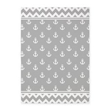 Light Gray Anchors and Chevrons 5'x7'Area Rug
