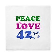 Peace Love 42 Queen Duvet