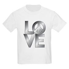Metallic LOVE with Peace Symbol T-Shirt