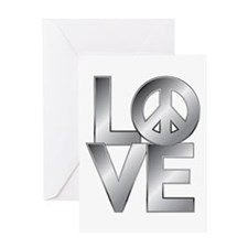 Metallic LOVE with Peace Symbol Greeting Card