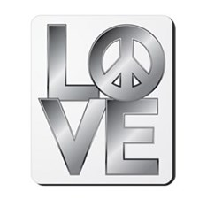 Metallic LOVE with Peace Symbol Mousepad