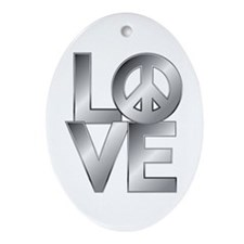 Metallic LOVE with Peace Symbol Ornament (Oval)
