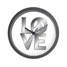 Metallic LOVE with Peace Symbol Wall Clock