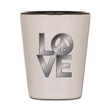 Metallic LOVE with Peace Symbol Shot Glass