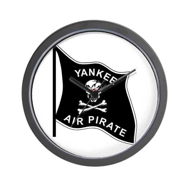Yankee Air Pirate Wall Clock by Ace_Apparel_Navy