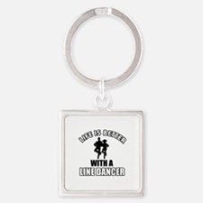 Line silhouette designs Square Keychain