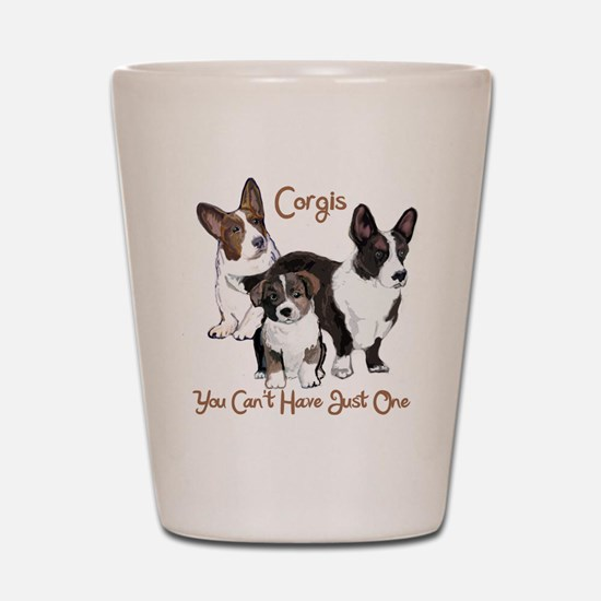 Cardigan corgi family Shot Glass