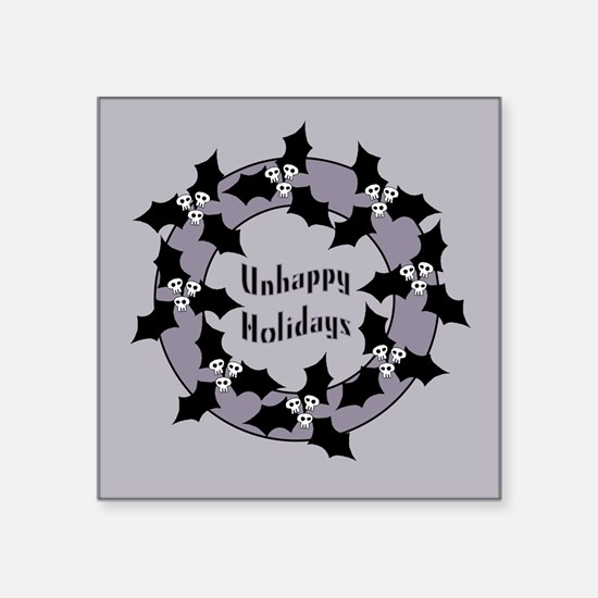 Unhappy Holidays Gothic Holly Wreath Square Sticke